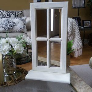 VINTAGE Farmhouse WINDOW Pane MIRROR W/Shelf